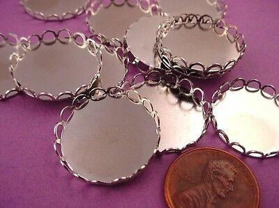 silver tone Round Lace Edge Bezel Cups 20mm - 8 Pieces