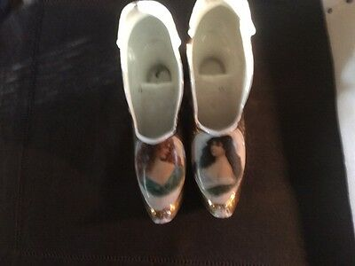 2 Germany Porcelain Gold hand Painted Portrait Shoes Louie French Style