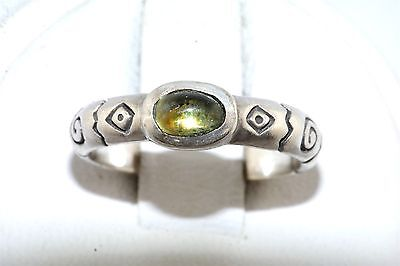 Contemporary Sterling Silver Peridot Cab Ring