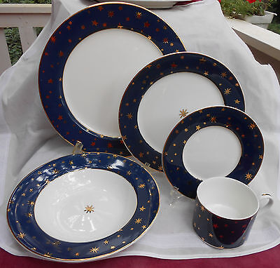 Sakura Galaxy Blue Dinnerware 9 Pc Cup Saucer Soup Bowl Dinner Plate Salad Gold