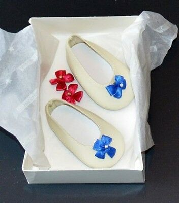 Felicity Extra Shoes/party Slippers! American Girl! Snap On Bows! Box! Retired
