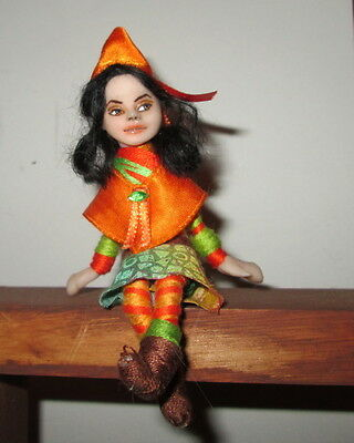 OOAK Fairy Pixie Dollhouse Posable Art Doll Ornament Jacquel Soft Sculpture Biel