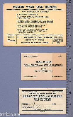 3 OLD BUSINESS TRADE CARDS ADVERTISING INDIANAPOLIS CHICAGO c1940 VINTAGE