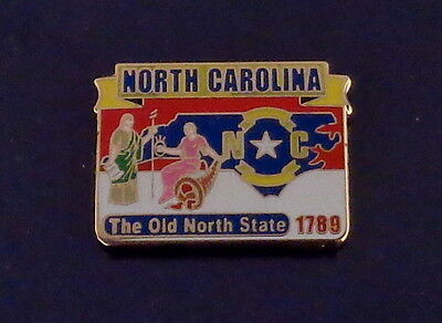 North Carolina State Map Lapel Pin NC The old north State 1789