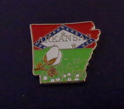 Arkansas State Shaped Map Lapel Pin AR state flag COTTON