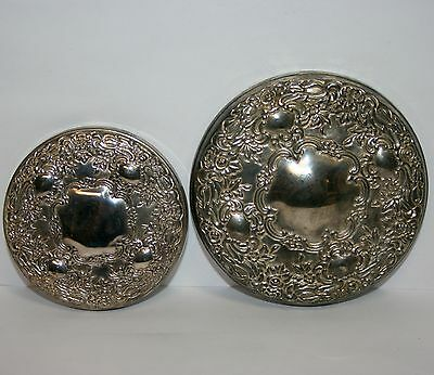 Vintage Silverplate Ornate Victorian Top Hand Mirror Compact or Jar Top Lot Set