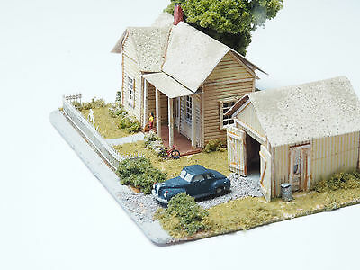 Z-scale country home Diorama Hand Built Structure in wood with high detailing