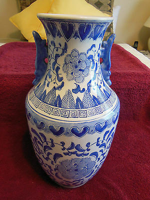 "Vase-Vintage Chinese-Blue and White-14.5"" High, 8"" Wide-Double Handled-Excellent"
