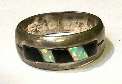 Vintage STERLING NATIVE OPAL AND ONYX RING-Signed-SIZE 8.5-Estate
