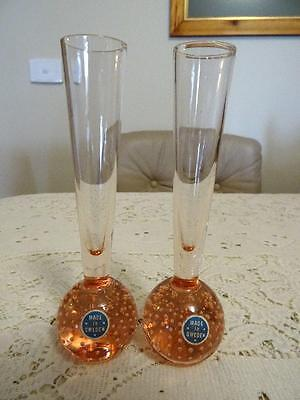 PAIR ELME RETRO MADE IN SWEDEN PINK GLASS CONTROLLED BUBBLE BUD VASES w LABELS