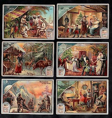 Christmas In Different Places Vintage Victorian Card Set Liebig 1895 N Pole Sea