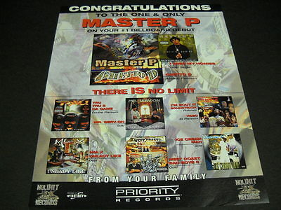 MASTER P Congratulations To The One And Only 1997 PROMO POSTER AD mint condition