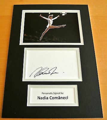 Nadia Comaneci Hand Signed Autograph A4 Photo Display Olympics Gymnastics & Coa
