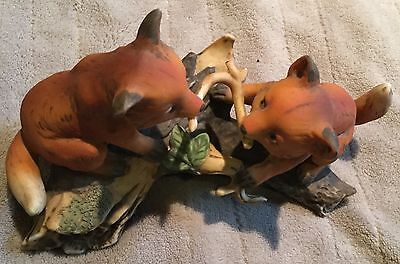 Pair of Fox Cubs Playing with Stick  Porcelaine Figurine Homco 1981