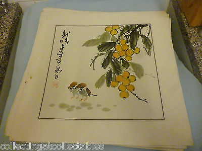 Chinese Ink Wash Painting  (Signed with artist Seal)  Two Birds And Fruit