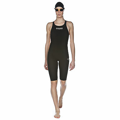 New Women Racing Swimsuit Arena Powerskin ST Open Back Black  Fina Approved