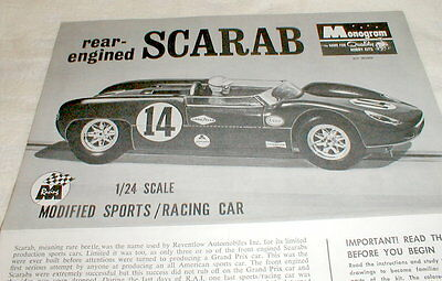 1965 Scarab by Monogram Slot Car Assembly Flyer Only for SR2409 1/24th  No Car