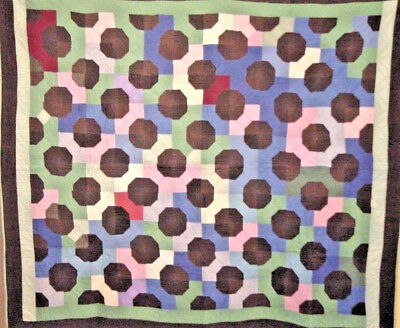 "RARE AMISH BOW TIE QUILT  1930S HOLMES CT OHIO 72"" by 63"" HAND QUILTED"