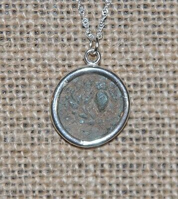 Owl of Goddess Athena Authentic Ancient Greek Coin 925 Sterling Silver Necklace