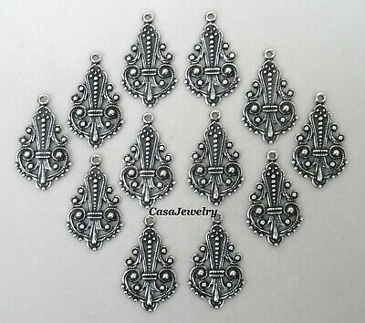 #3420 ANTIQUED SS/P OPEN FILIGREE TEARDROP W/TOP HANG RING - 12 Pc Lot