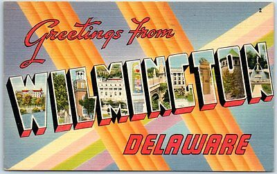 WILMINGTON Delaware Large Letter Postcard Linen w/ 1949 Cancel