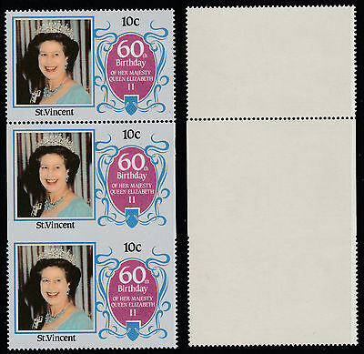 St Vincent (185) 1986 60th Birthday 10c IMPERF ON 3 SIDES strip unmounted mint