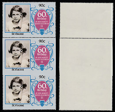 St Vincent (186) 1986 60th Birthday 90c IMPERF ON 3 SIDES strip unmounted mint