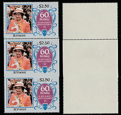 St Vincent (190) 1986 60th Birthday $2.50 IMPERF ON 3 SIDES strip unmounted mint