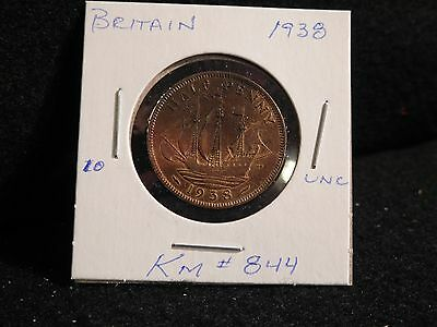 Uk (Great Britain):  1938  Half Penny     (Au / Unc)   (#59)  Km # 844