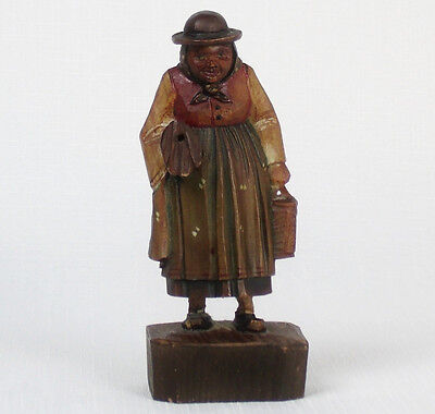 Vintage ANRI Italy Hand Carved Wood Figurine WOMAN With Umbrella