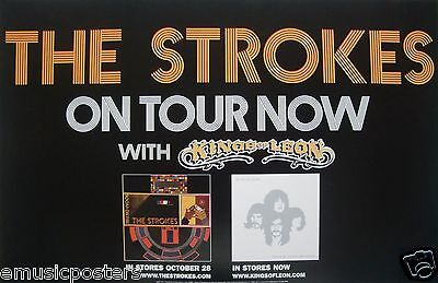 "THE STROKES/KINGS OF LEON ""ON TOUR NOW"" U.S. PROMO POSTER - Indie Rock Music"