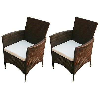 Garden Furniture Chair Set of 2 Poly Rattan Wicker Lounge Outdoor Patio Brown