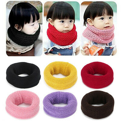 Children Kids Boys Girls Candy Color Scarves Knitted Soft Scarf Winter Warm