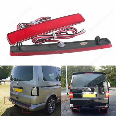 2x VW Transporter T5 Red LED Rear Bumper Reflector Brake Tail Signal Light Lamps