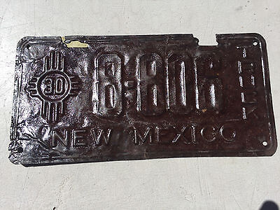 "1930 New Mexico Truck License Plate  "" 8 806 "" Nm 30"