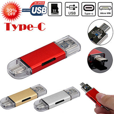 USB-C Type-C/USB 3.0/Micro USB/OTG TF Card Reader for Cellphone Macbook Tablet
