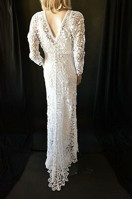 Lim's Brand New 100% Gorgeous All Hand Made Crochet Maxi Dress White M (One Size