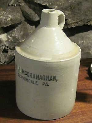 Antique stone ware crock W.J. McGranaghan Carbondale Pa. whickey jug
