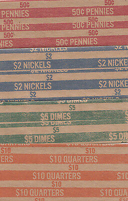 100 Coin Wrappers, You Choose How Many, Penny, Nickel, Dime, Quarter You Want