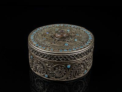 An Antique Nepalese Bejewelled White Metal Box.