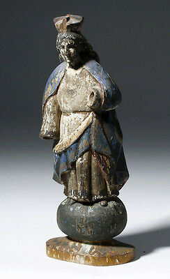 ARTEMIS GALLERY 19th C. Mexican Carved Wooden Santo - Virgin Mary
