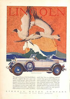 1928 Lincoln Sport Phaeton Locke Art   Orig Vintage  Car  Ad