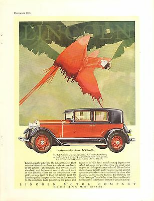 1928 Lincoln 4 Pass Town Sedan Willoughby Art   Orig Vintage  Car  Ad