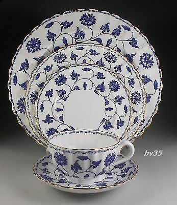 SPODE COLONEL BLUE gold trim 5 PIECE PLACE SETTINGS - PERFECT!