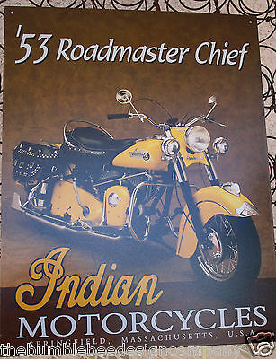 53 Roadmaster Chief Indian Motorcycles Tin Sign Indian Chief 1953 Made in USA