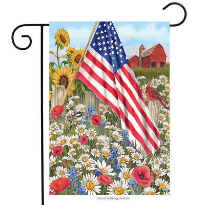 "America the Beautiful Summer Garden Flag Patriotic Floral 12.5"" x 18"""