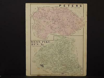 Pennsylvania, Washington County Map, 1876 Town of West Pike Run & Peters N6#03