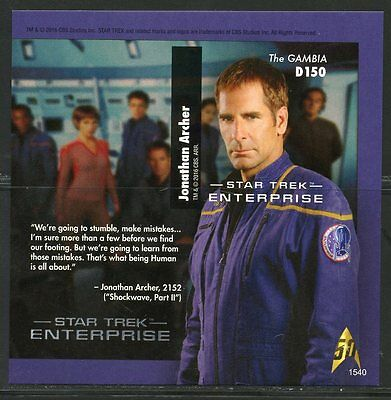 Gambia 2016 First Time Offered Star Trek Enterprise  Imperf S/s  Mint Nh