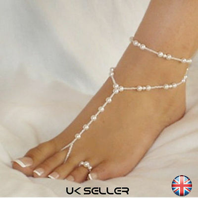 Pearl Barefoot Sandal Anklet Bracelet Foot Ankle Chain Toe Ring Bridal Jewelry