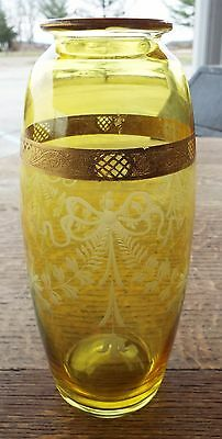 Old Antique Signed HAWKES Yellow Amber CITRINE Etched Cut Glass Ribbon VASE